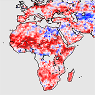 World map of relative warming rates